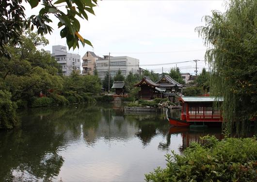 神泉苑北門から池を眺める