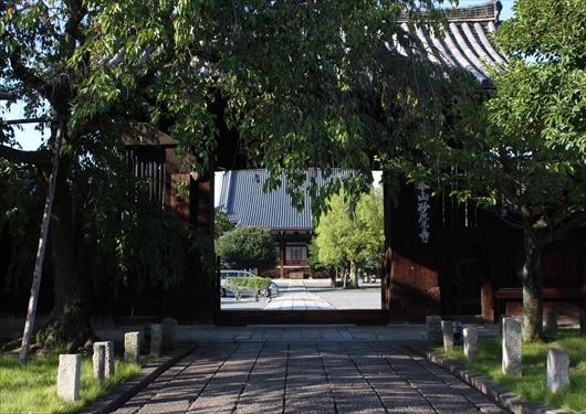 妙覚寺山門から本堂