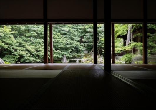 蓮華寺観光客のいない庭園