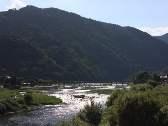 嵐山と渡月橋と桂川